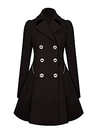 JKQA Women's Thin Section Trench Coat Slim Double Breasted Oversize Outerwear (L, Black)