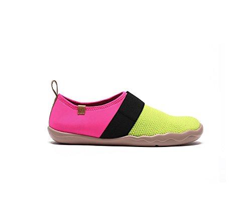 UIN Chaussure de slip-on de confort de tricot Bejer des femmes Vert et Rose