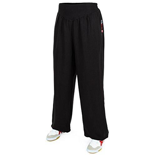 wu designs Baumwolle (Leicht) Damen Kung Fu & Yoga Trainingshose Schwarz 175