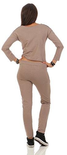 Mr. Shine Damen Hausanzug Jogginganzug Jumpsuit Langarm Pullover Sportanzug Trainingsanzug Rundhals Lang S-XXXL Cappuccino