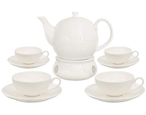Buchensee Teeservice aus Fine Bone China Porzellan. Teekanne in fein-cremigem Weiß mit 1,5l Füllvolumen, 4 Teetassen, 4 Unterteller und Stövchen.