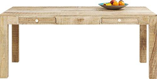Kare Tisch Puro, Esszimmertisch verziert mit handgeschnitzten Ornamenten, moderner Esstisch aus hochwertigem Mango Echtholz mit liebevollen Details, (H/B/T) 77 x 180 x 90 cm, Holz, Natur, ( -