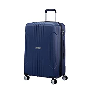 American Tourister Tracklite – Spinner Medium Expandable Equipaje de Mano, 67 cm, 82 Liters, Azul (Dark Navy)