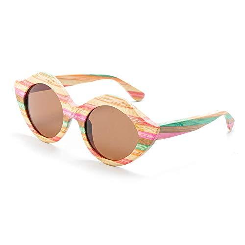 ETH UV400 Braun Blau Männer Und Frauen Modelle Sonnenbrillen Handgefertigte Farbe Bambus Beschichtet Polarisierte Sonnenbrille dauerhaft (Farbe : Brown) (Sonnenbrillen-gurt Frauen)