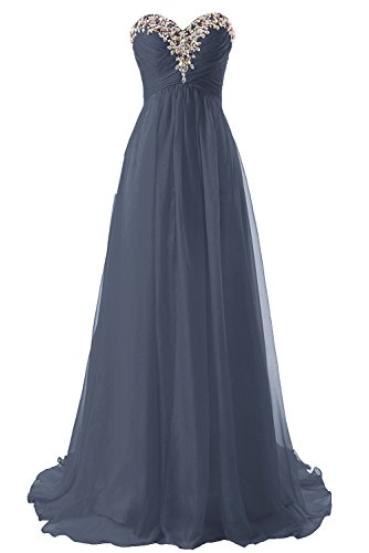JAEDEN Abendkleid Lang Chiffon Ballkleid Brautjungfernkleid Trägerlos Damen Grau EUR44