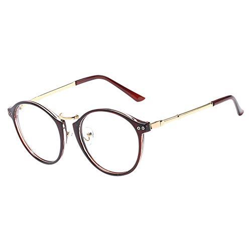 Ansemen Klassische Nerdbrille,Modische Runde Rahmen Metallgestell Brillenfassung Klare Linse Vintage...