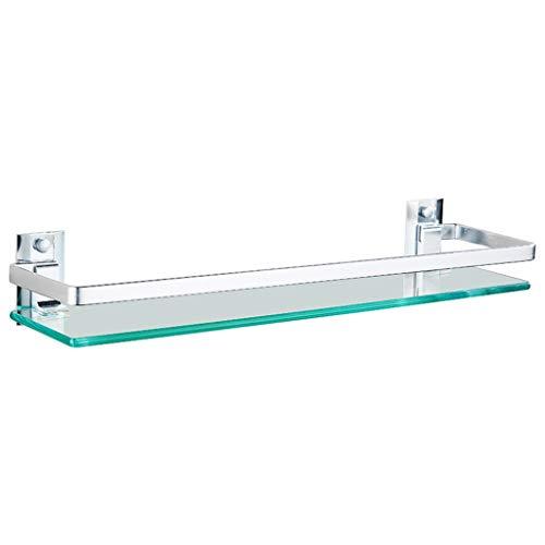 QIQI-JZX Badezimmer-Regal, Glas-Regal Rechteckig (Aluminium 1 Tier) Korb-Duschorganisator Wandmontage, Silber (größe : 50cm) -