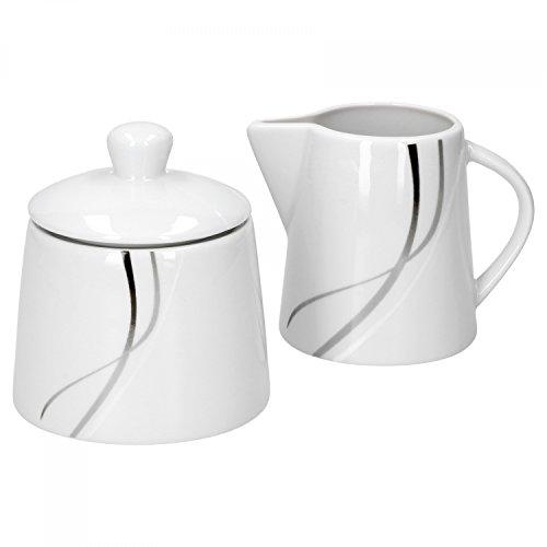 Van Well Zuckerdose + Milchkännchen-Set Silver Night, runder Zuckerspender mit Deckel + Milch-Gießer, Porzellan, abstraktes Dekor, Gastro-Geschirr