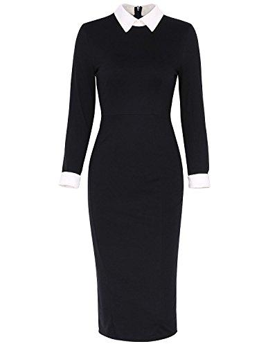 KENANCY Damen Elegant Etuikleid Weiß Kragen mit Kurzen Ärmeln Enge Abendkleid für Business Party Schwarz Blau S bis 2XL (L, Schwarz (Kostüm Kleid Kragen)