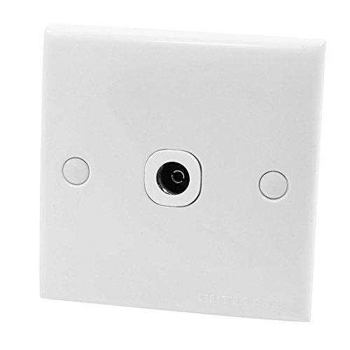 White Square Kunststoff-TV-Antenne Jack-Buchse Steckdose Platte