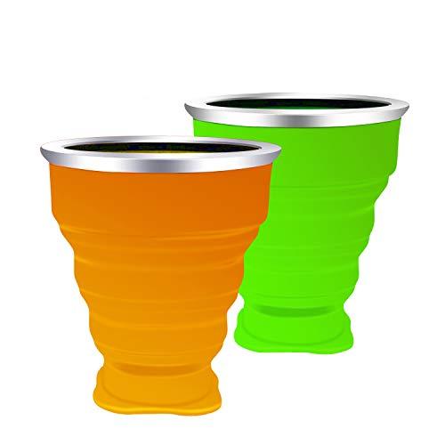 Silikon Falten Tasse Becher Faltbar Klappbar Lebensmittelecht Ungiftig Silikon:BPA-Frei Tragbare Kaffee Tasse für Wandern Camping Outdoor Sport, bruchfest, 200 ml Für Heiß und Kaltgetränke 2 Stück