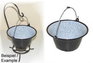 Set Ungaricher Gulaschkessel Emaille 0,8 Liter + Kesselständer Fonduetopf Schokoladenfondue Serviertopf