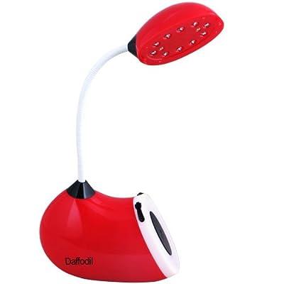 Daffodil LEC100R - Tragbares LED Licht - Batteriebetriebene Leselampe mit flexiblem Schwanenhals und integriertem Akku - Rot