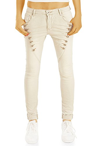 bestyledberlin Damen Baggy Jeans, Regular Fit Boyfriend Jeans, Low Rise Jeans j76i 40/L - Low-rise-slim-fit-jeans