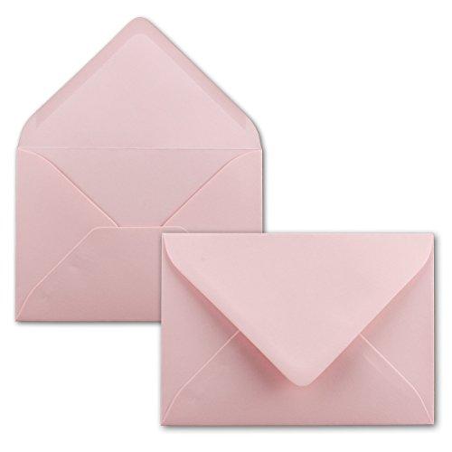 Kuvert Rosa mit Spitzklappe | DIN C7 | 50 Stück | Nassklebung | kleine Blanko Brief-Umschläge | Mini-Umschläge | ideal für Taufe, Geburt, Weihnachten & Geschenkärtchen | SERIE FarbenFroh®