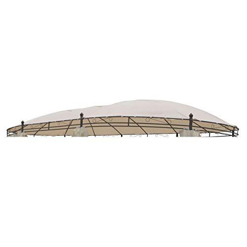 Linder Dachstoff für Pavillon oval 5,3x3,5m beige Polyester Ersatzdach wasserdicht Dach
