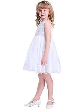 Bowdream. Vestido para niña, diseño vintage de flores de encaje.