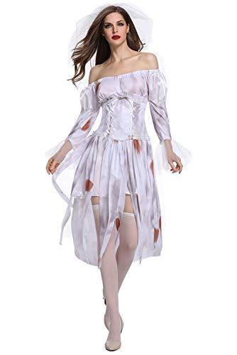 MingoTor Damen Zombie-Braut Kostüm, Kleid, Schleier Weiß M