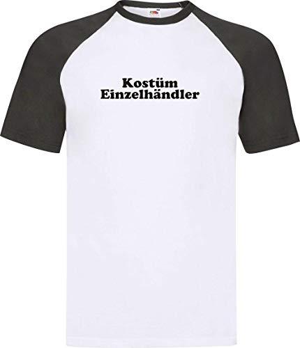 Einzelhändler Kostüm - Shirtinstyle Raglan Shirt Karneval Kostüm Einzelhändler Fasching Kostüm Verkleidung, Farbe Weiss-schwarz, Größe XXL