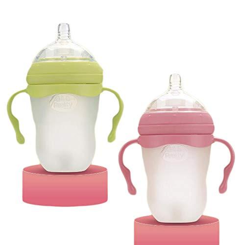 LYX Babyflasche, Großkalibrige Anti-Fallen Anti-Verbrühen Medizinische Silikonflasche 220Ml,Pink