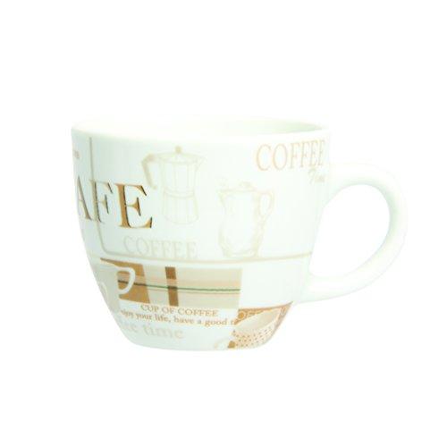 Novastyl 5186072 Lot de 6 Tasses à Thé Coffee Break Porcelaine Beige 22 cl