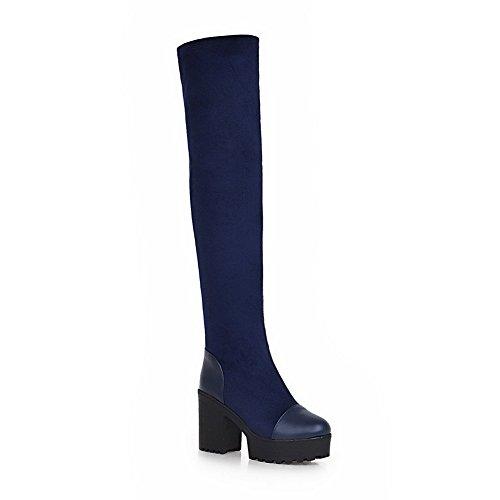 AgooLar Damen Hoher Absatz Weiches Material Hoch-Spitze Eingelegt Ziehen auf Stiefel, Schwarz, 34