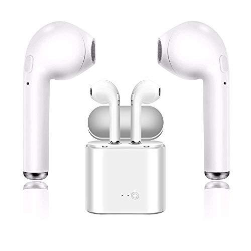 Auricolare bluetooth, microfono ad alta definizione con scatola di ricarica 4.2 cuffie bluetooth con cancellazione del rumore, se applicabile iphone x 8 8 plus 7 7 plus 6s samsung ios android-bianco