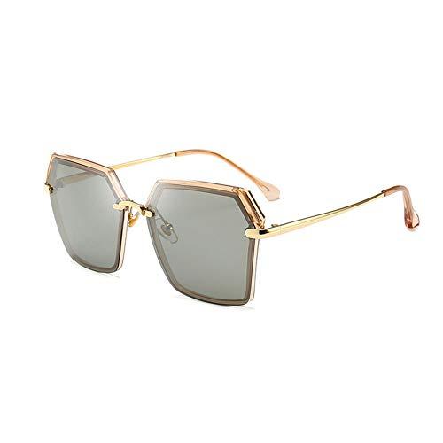 Thirteen Polarisierte Sonnenbrille Damen Retro Metall Großen Rahmen Fahren Sonnenbrille, Stilvolle Mode Uv Schutz Und Komfortablen Augenschutz. (Color : Tea Gold Frame)
