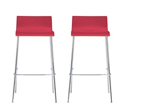 MAUSER SITZKULTUR 2er-Set Design Barhocker / Barstuhl in schlanker Form, Holzdeckor rot, Gestell glanzverchromt; M225