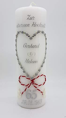 Kerze eiserne Hochzeit mit Namen & Datum EH-02