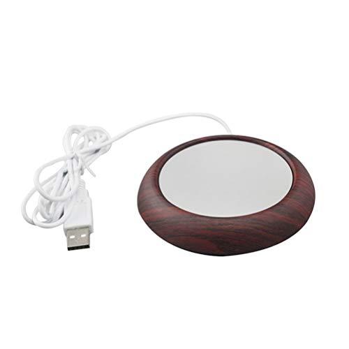 BESTONZON USB Tassenwärmer Wärmeplatte elektrisch für Kaffee Tee oder Andere Heißgetränke, Holzkorb, tief