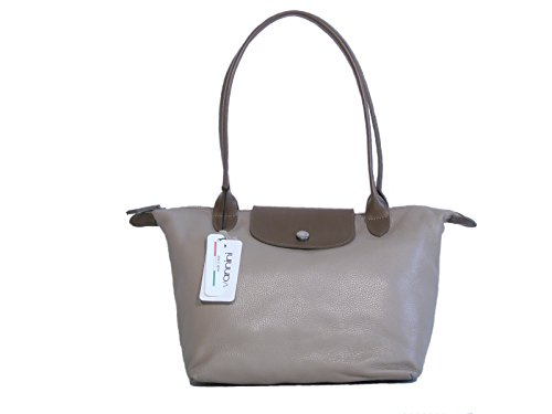 Borsa donna Vannini in vera pelle modello shopper media taupe