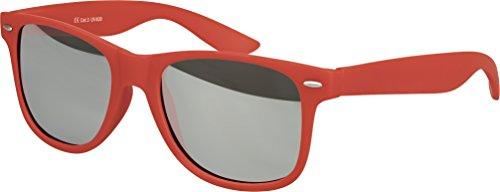 Balinco Hochwertige Nerd Sonnenbrille Rubber im Wayfarer Stil Retro Vintage Unisex Brille mit Federscharnier - 96 verschiedene Farben/Modelle wählbar (Dunkelrot - Silber verspiegelt)