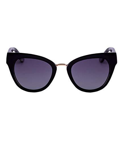 TOSH Glänzend schwarze Cat Eye Sonnenbrille mit goldfarbenen Details und grauen Gläsern (477-288)