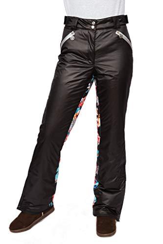 Stayer Sporthose Winterhose Thermo-Hose Damen Skihose Wintersport Lederlook Glanz Schwarz mit Kontrast Muster bunt (L)