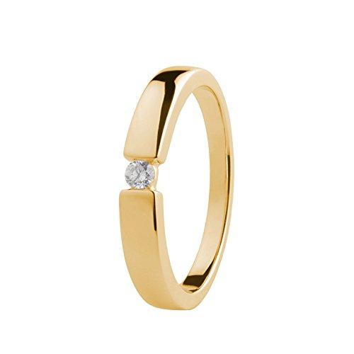 Ardeo Aurum Damenring aus 585 Gold Gelbgold mit 0,07 ct Diamant Brillant Spannfasssung Verlobungsring Solitär