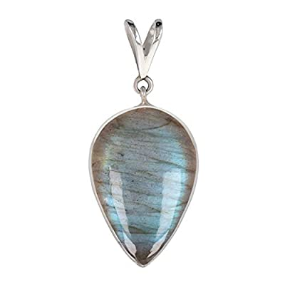 Idée cadeau Maman-Labradorite naturel-Pendentif bleu Forme poire inversée-femme