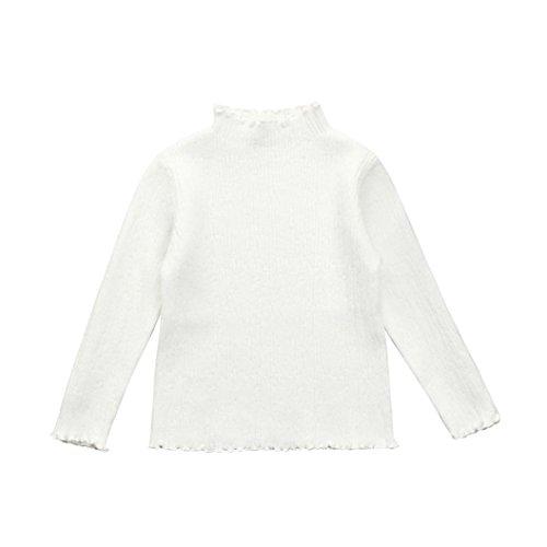 erthome Kleinkind Mädchen Kinder stricken Rollkragen Pullover Inwear Outerwear (Weiß, 3-4 Jahre) (Rollkragen Stricken)