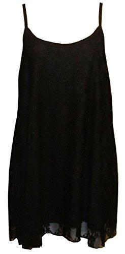 Flirty Wardrobe Débardeur à fines bretelles pour femme Dentelle florale Swing Robe avec taille 12–26 Noir - Noir
