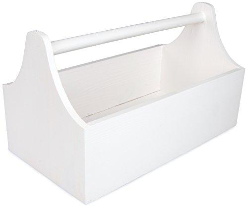 Werkzeugkasten aus Holz mit Tragegriff - Kiefer Weiß Lackiert - ca. 34 x 20 x 18 cm - Grinscard (Werkzeug Aufbewahrung Holz Box)