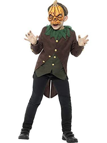 Luxuspiraten - Jungen Kinder Kostüm Gänsehaut Kürbis im Vogelscheuchen Stil mit Frack Oberteil und Maske, Bloody Pumpkin as a Scarecrow, perfekt für Halloween Karneval und Fasching, 122-134, Schwarz (Scarecrow Kostüm Für Jungen)