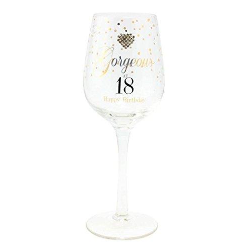 Verre à vin glamour « Gorgeous at 18, Happy Birthday! »Verre à vin pour dix-huitième anniversaire avec illustration en cœur à pois dorés dans une boîte de présentation.
