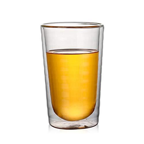 Erjialiu 260Ml doppelte Kaffeetasse hitzebeständige Glas Gewinde Kaffeetasse Runde Dicke Handgemachte Gesunde Teetasse,250 ml