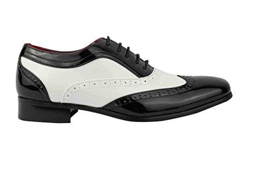 Herren Patent Glänzend Leder Zank Gangster Fancy Kleid Smart Brogue Party Schuhe Schwarz/Weiß