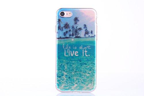 Meimeiwu Hohe Qualität Ultra Slim Schöne Landschaft TPU Transparent Case Hülle Schutzhülle für iPhone 6 6S - Beach Day Sea Island (Life is What Live it)