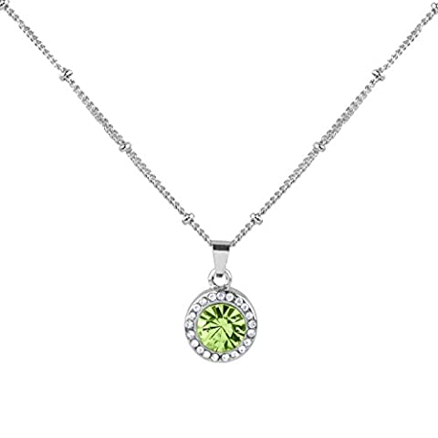 Lux Accessories Peridot August Birthstone Pendant Disc Pave Charm Pendant Necklace Birthday Stone
