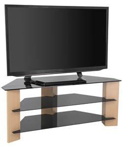Eiche und Schwarz Glas 139,7cm TV Ständer.