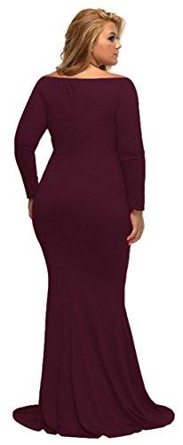 La Vogue Robe Grand Taille Femme Manche Longue Col V Mariage Rouge foncé
