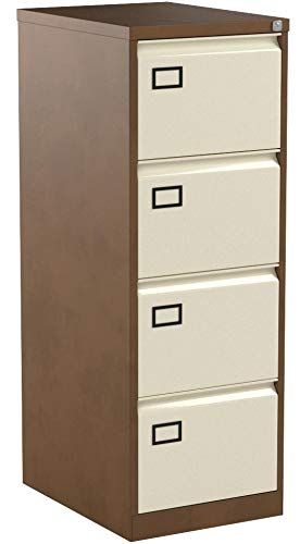 Office Hippo Bisley 4-Drawer Contract Steel Filing Cabinet – Coffee Cream