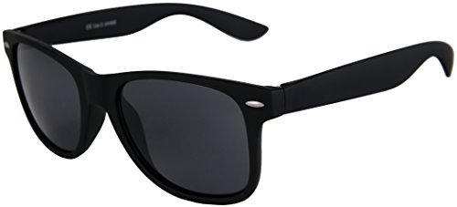 Balinco Hochwertige Nerd Sonnenbrille mit Federscharnier Gummiert Rubber im Retro Stil Vintage Unisex Brille mit Federscharnier Schwarz